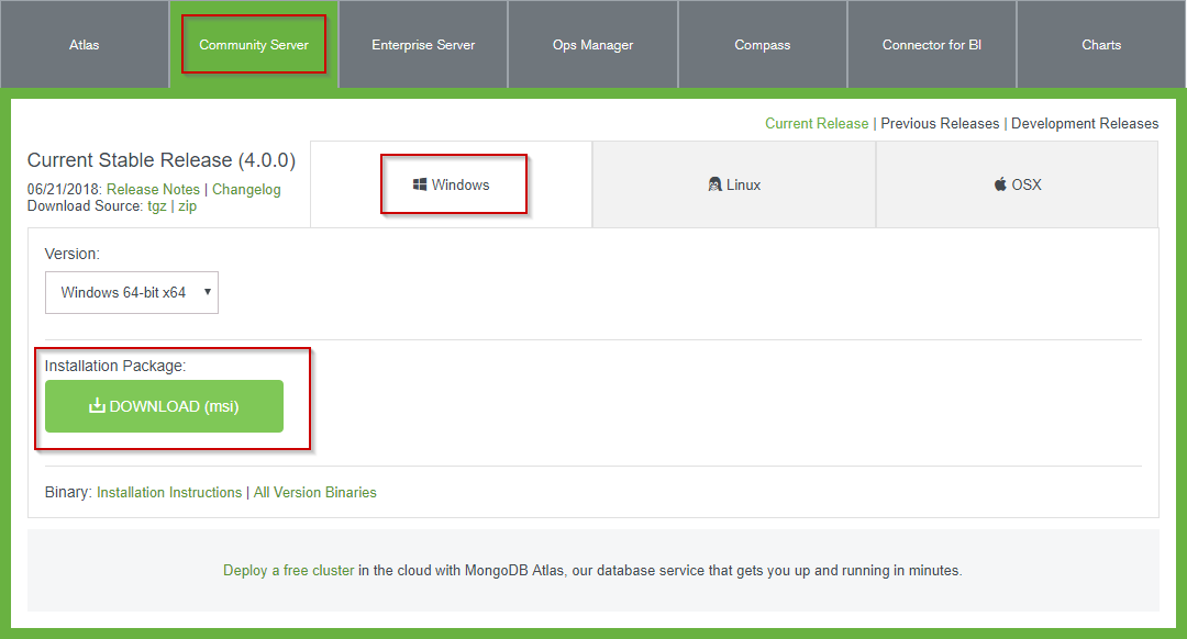 MongoDB Windows Download Page