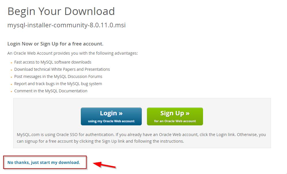 MySQL Windows Download Page