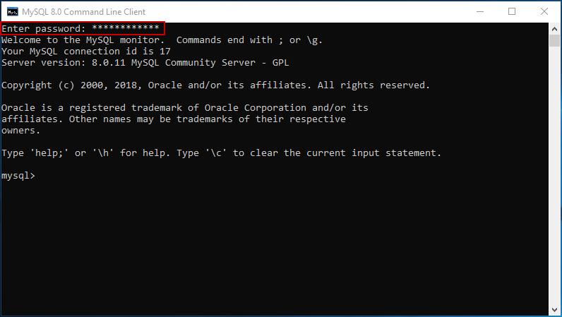 MySQL 8.0 Command Line Client