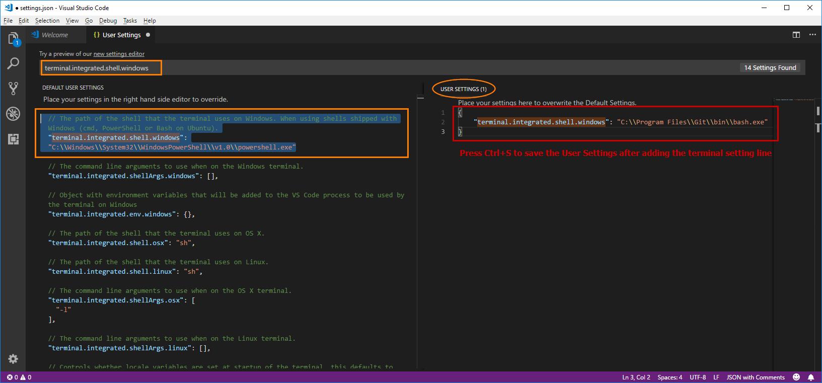 Visual Studio Code Settings - Git Bash