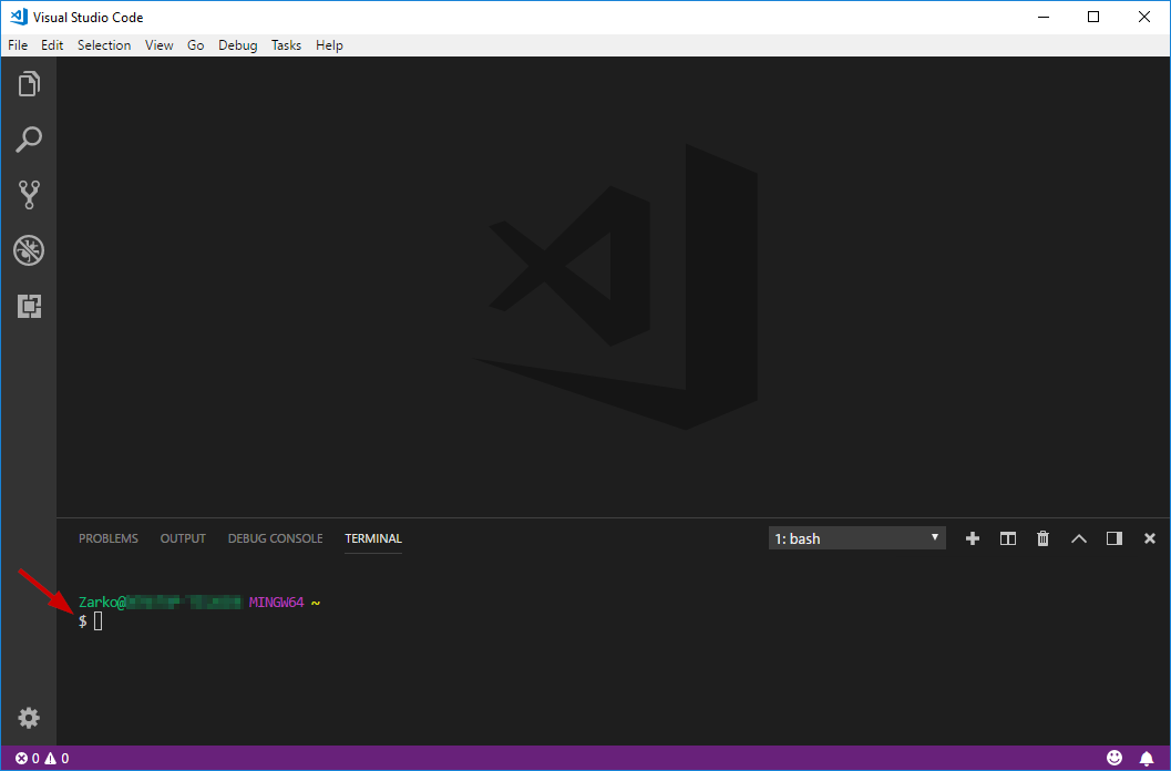 Visual Studio code with integrated Git Bash